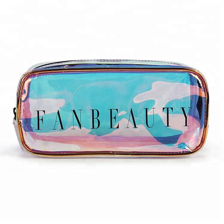 Promotion clear fashion waterproof women makeup PVC mirror cosmetic bag