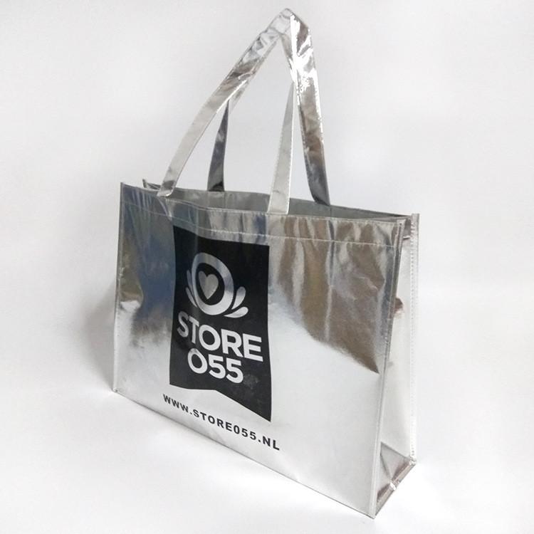 silver foil handles non woven bag