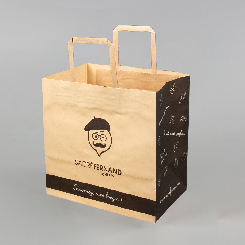 Folding handle kraft paper bag