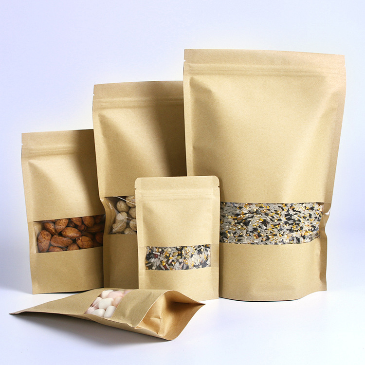 Food Packing Kraft Paper Bag With Window