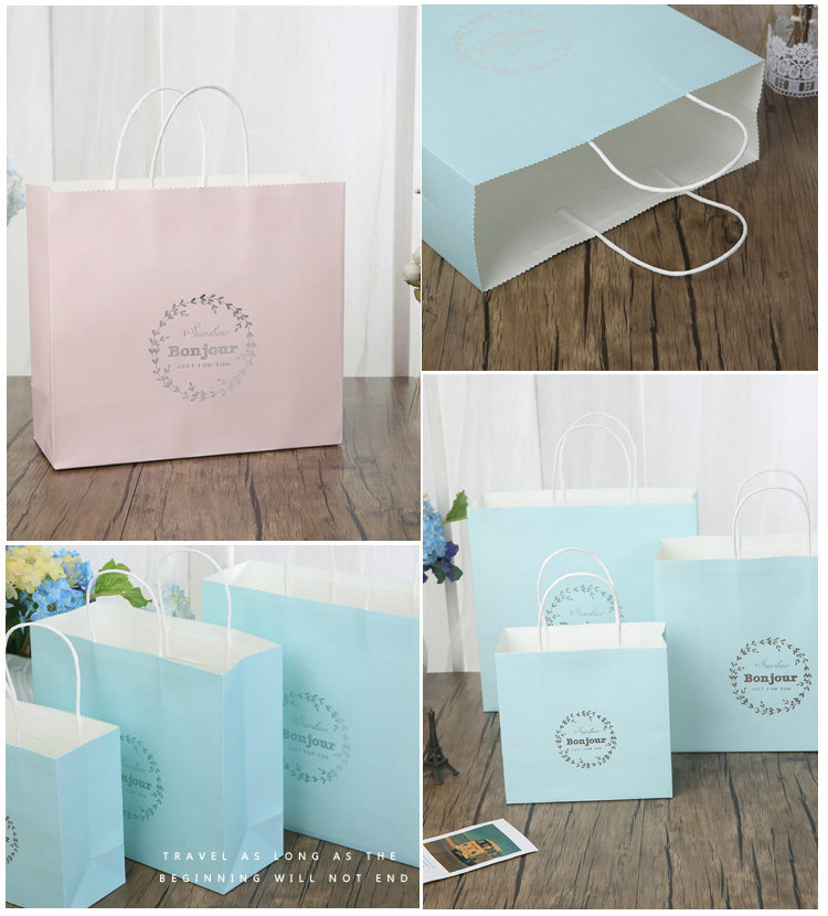 Custom logo white kraft paper shopping bag