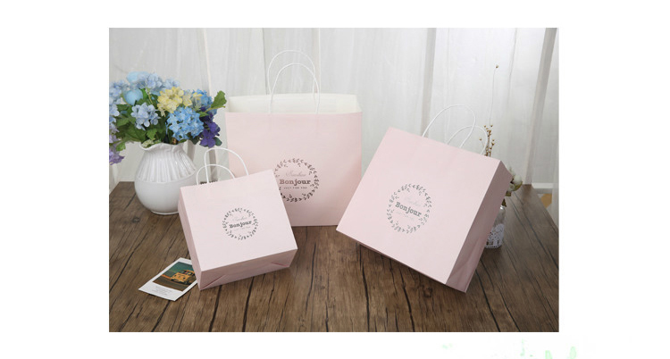 Custom logo white kraft paper shopping bag