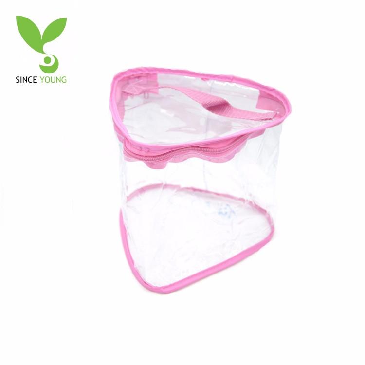 Heart-shaped pink silk border pvc transparent storage bag