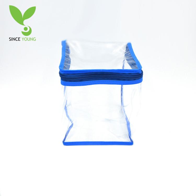 Blue border transparent pvc zipper portable storage bag