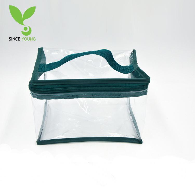 Green side portable pvc zipper storage bag