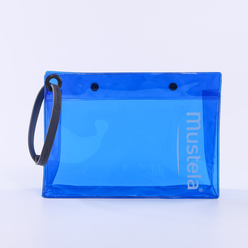 blue transparent pvc zipper bag advertising gift bag
