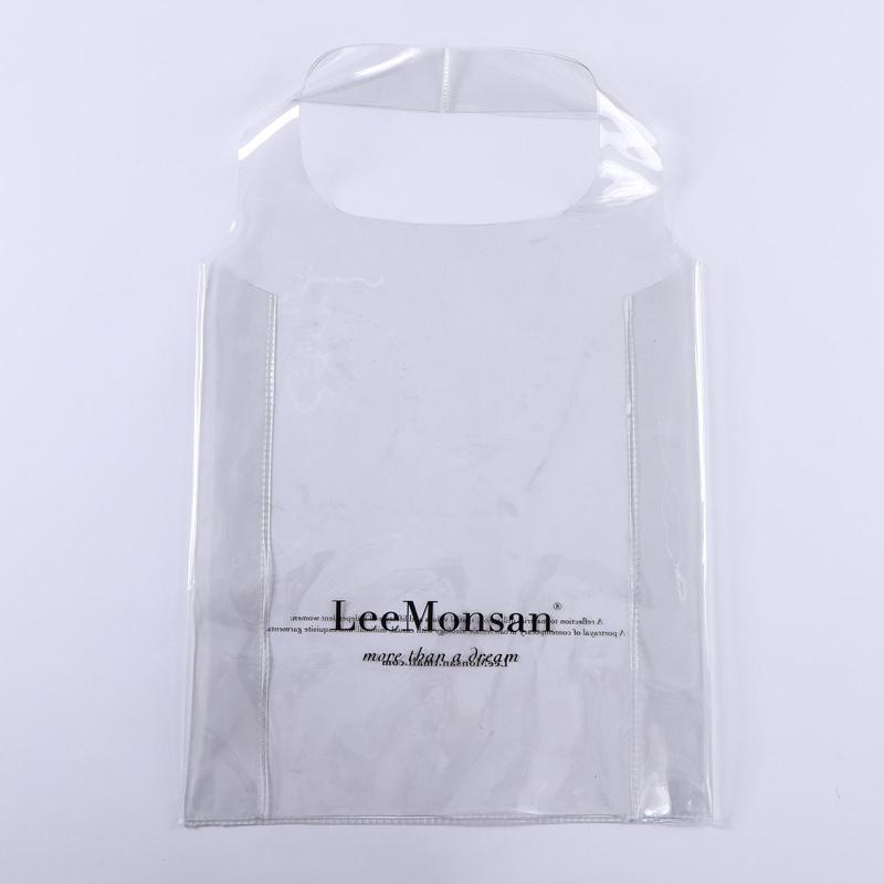Printed transparent pvc vest shopping bag