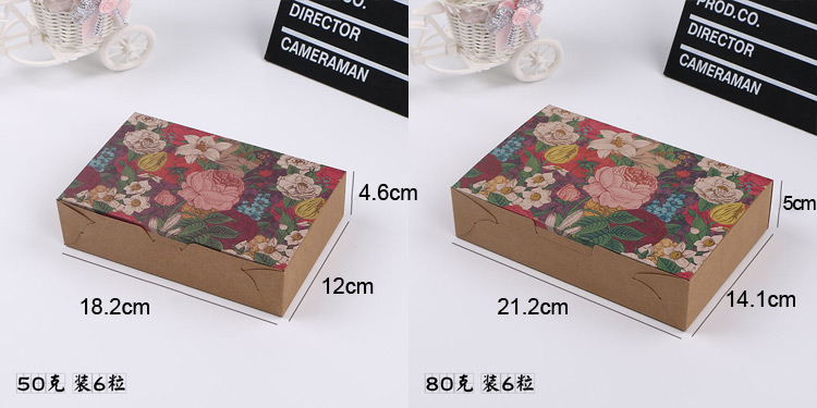 Clamshell Biscuit candy Kraft paper box