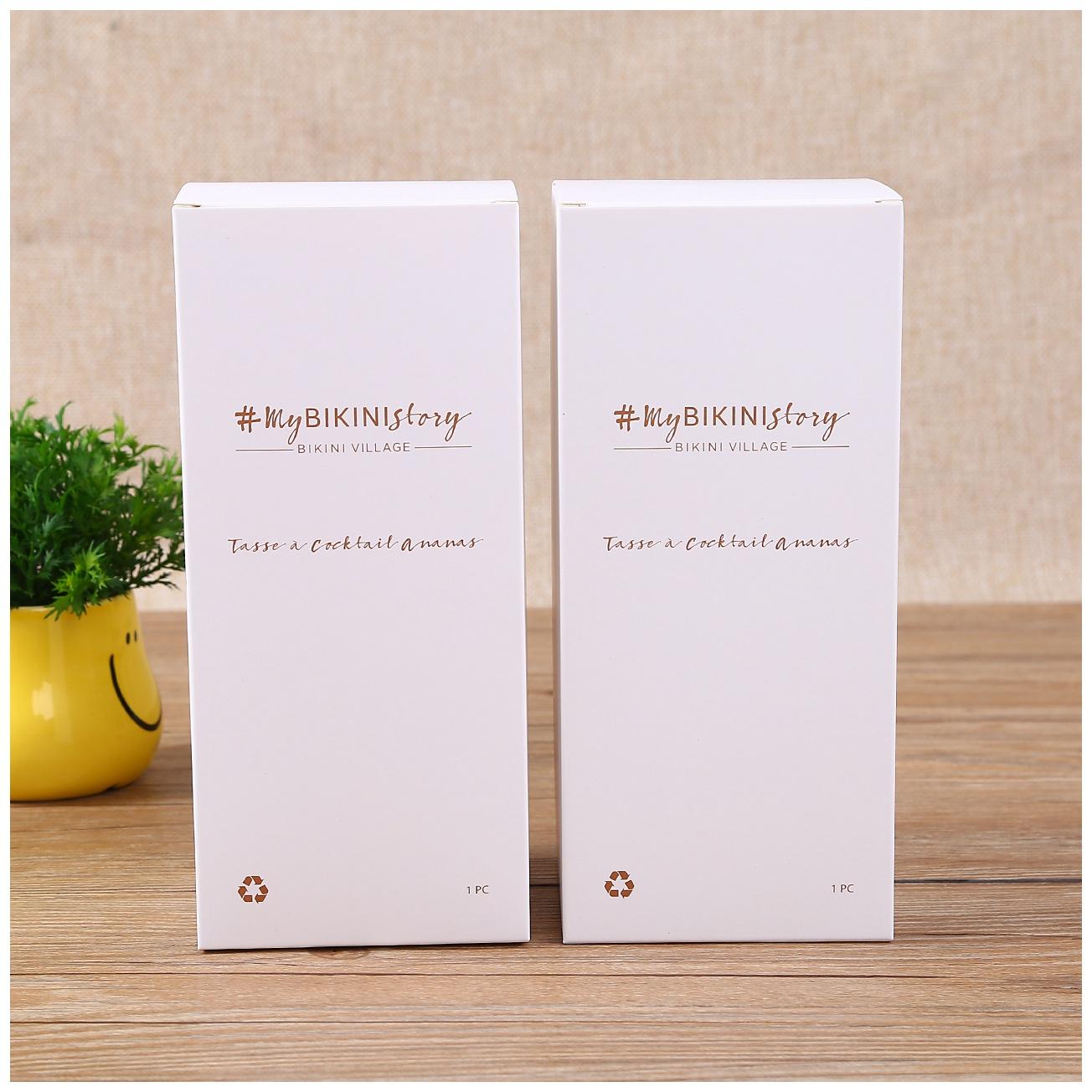 gold hot stamping rectangular vertical white cardboard box