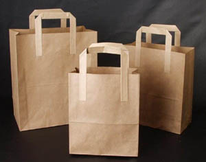 There are two familiar and uncommon materials in the hand-held paper bag.