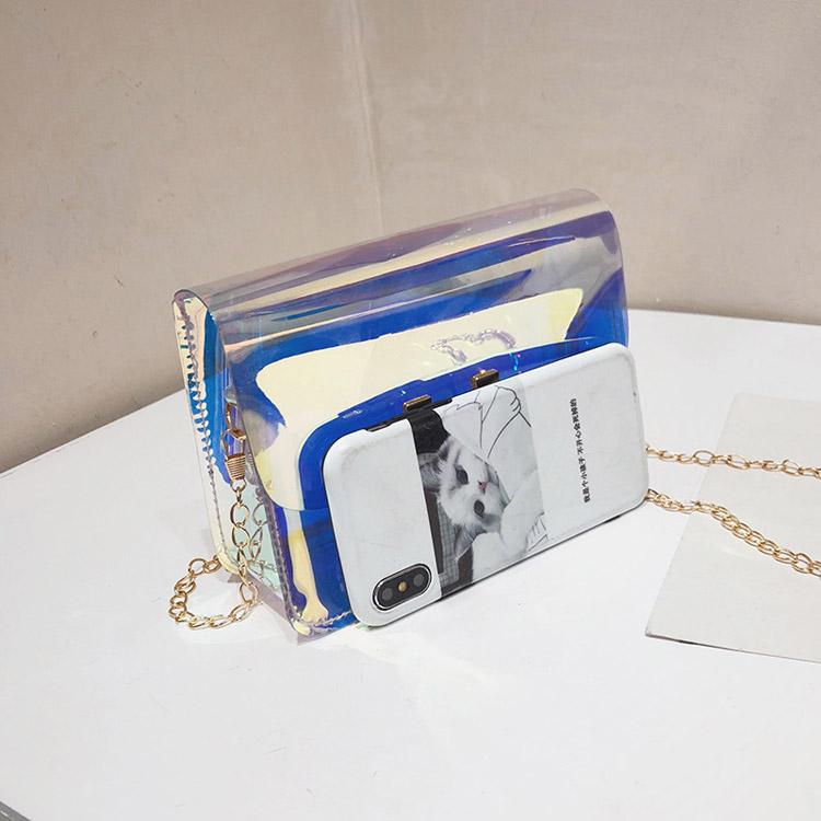 Laser colorful PVC chain shoulder small square bag wholesale