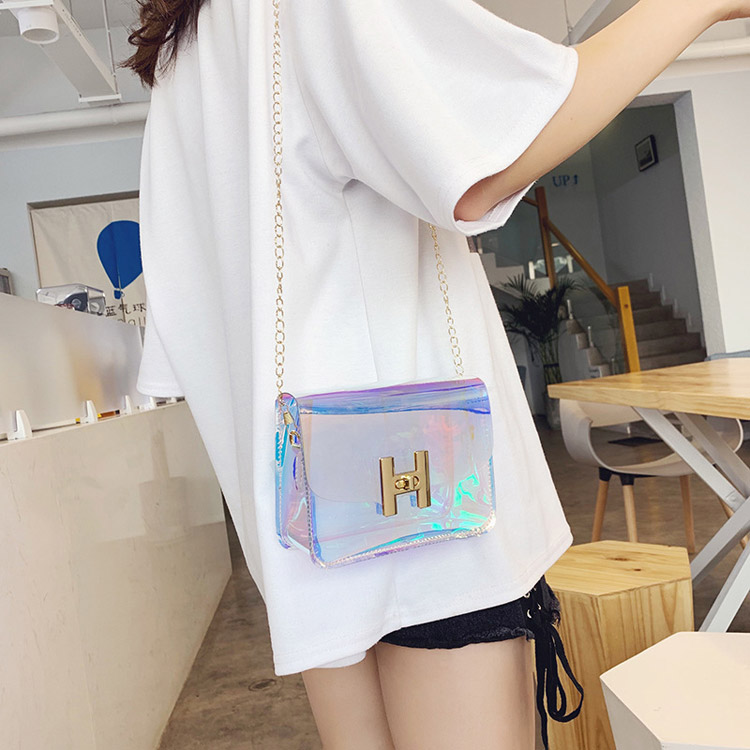 lLaser colorful PVC chain shoulder small square bag