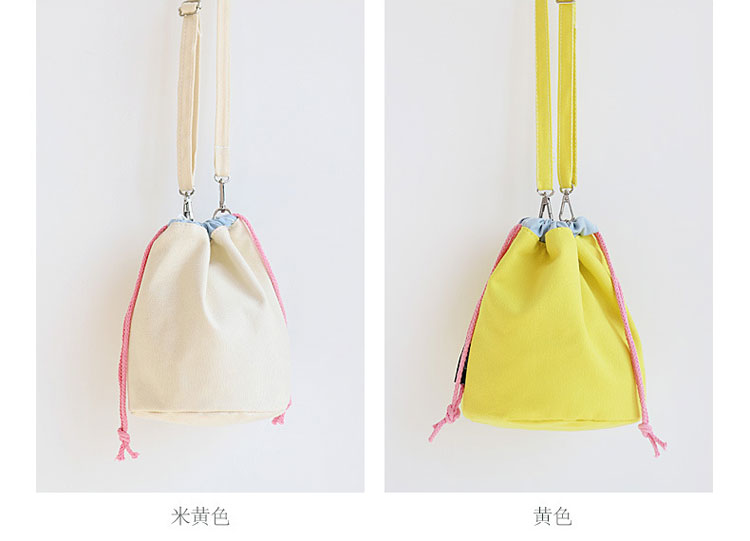 beam mouth canvas bag drawstring bucket bag diagonal package