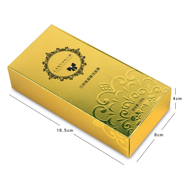 Cosmetic gold packaging carton
