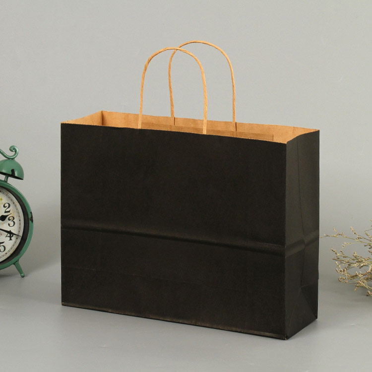 Cross section black portable kraft shopping bag