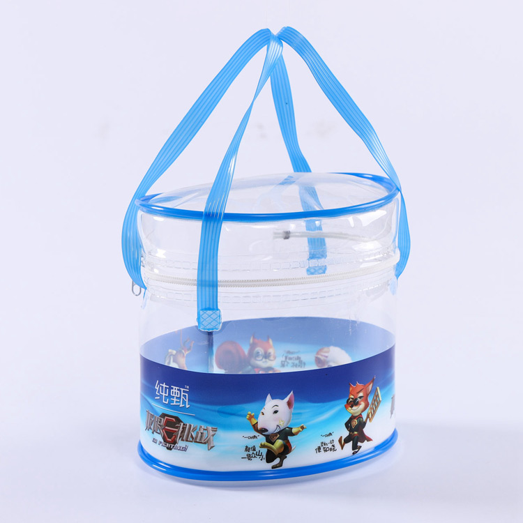 Cylindrical portable plastic zipper promotional bag