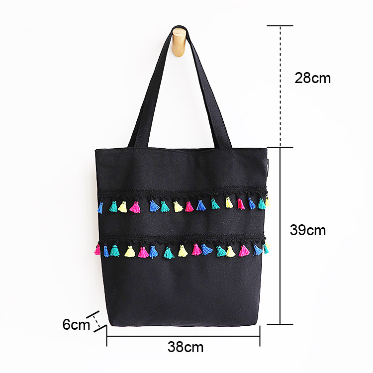 Fringe stitching small fresh literary canvas bag