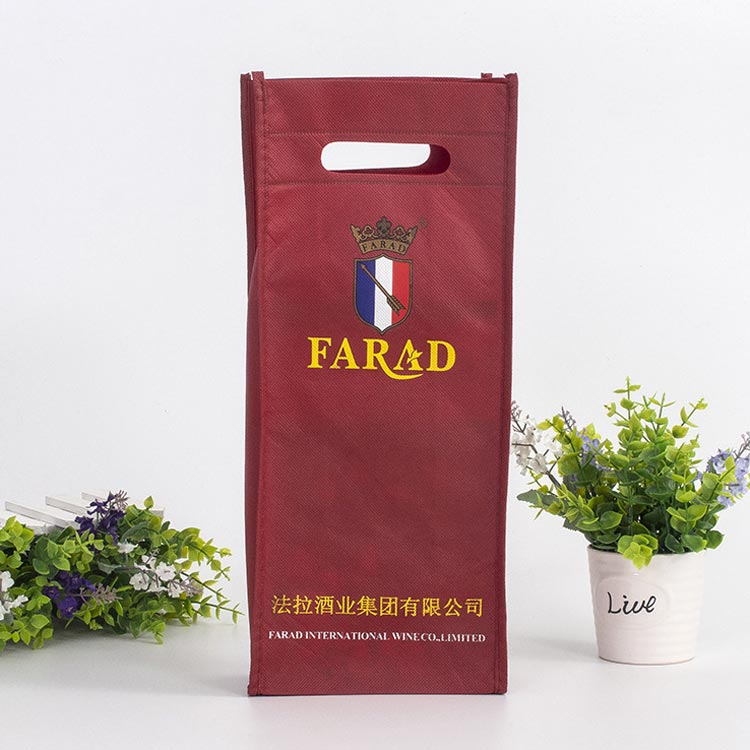 High-end wine gift cut hole portable non-woven bag green printing advertising bag