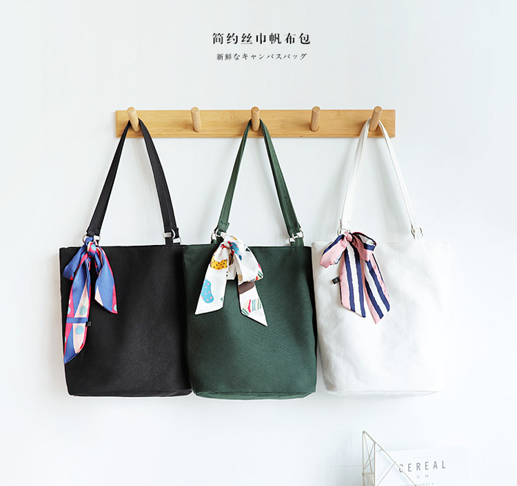 Simple canvas bag girls shoulder bag bucket bag