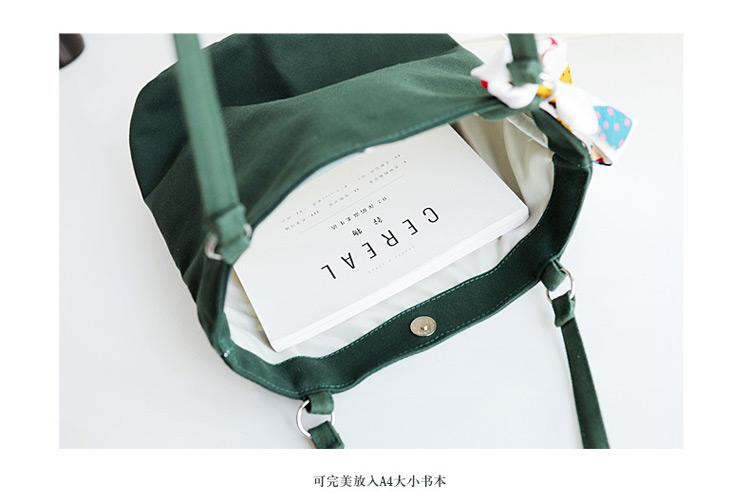 Simple canvas bag girls shoulder bag bucket bag