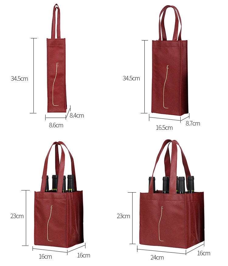 Wholesale non-woven wine bags can be loaded with single or multiple red wine non-woven tote bags