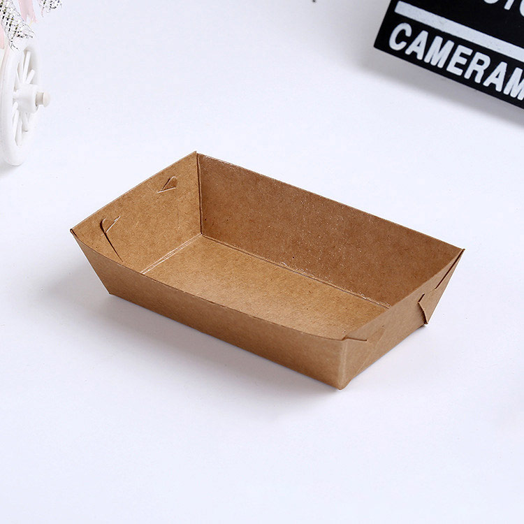 Disposable kraft paper oil-proof food packaging tray
