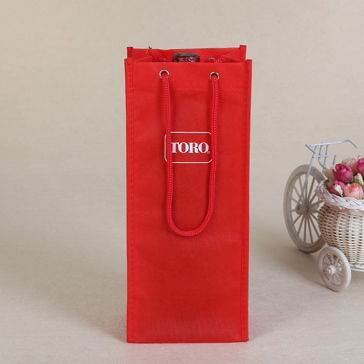 Professional custom portable rope non-woven wine bag printed logo