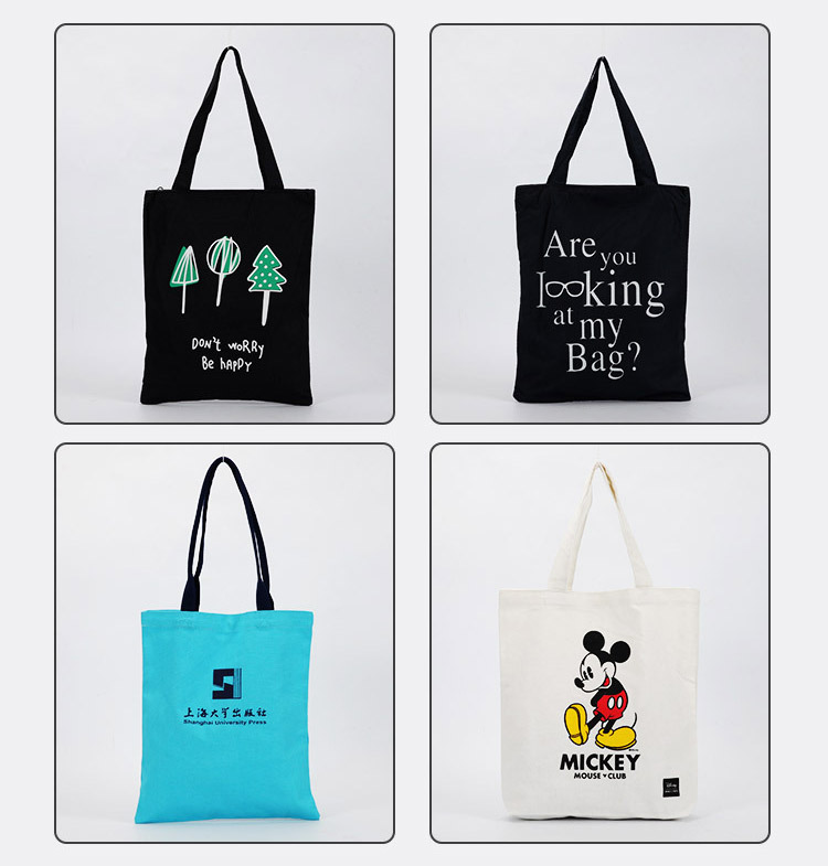 supply blank simple portable black cotton bag