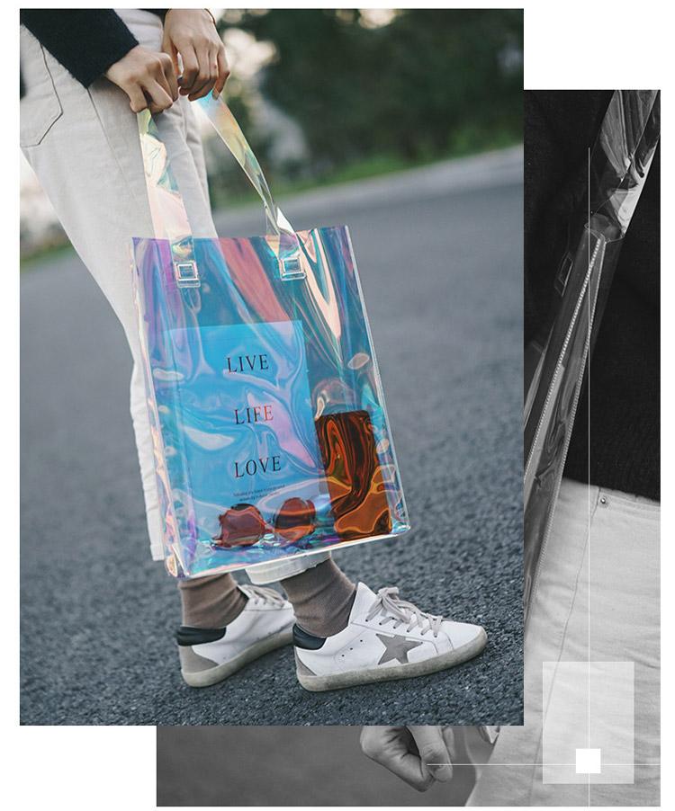 Transparent laser high-end portable shopping bag